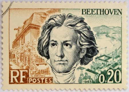 FRANCE - CIRCA 1963: A stamp printed in France shows Ludwig van Beethoven, famous classical music composer and virtuoso pianist, circa 1963