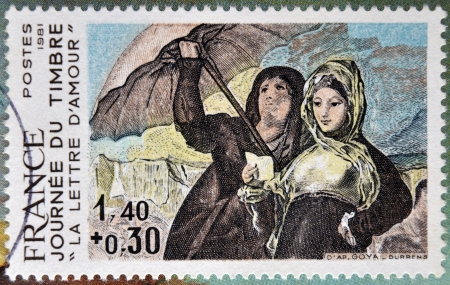 commemorate: FRANCE - CIRCA 1981: a stamp printed in France shows Women, Along the Manzanares, Painting by Francisco Goya, love letters, circa 1981