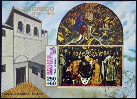 greco: EQUATORIAL GUINEA - CIRCA 1972: A stamp printed in Equatorial Guinea, shows The Burial of Count Orgaz by El Greco, circa 1972