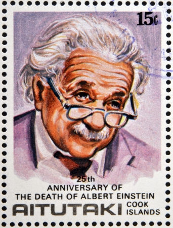 AITUTAKI (ARAURA), CIRCA 1980: stamp printed in Cook Islands in honor of Mathematician Physicist Nobel Prize Winner Albert Einstein, circa 1980 Stock Photo - 18478793