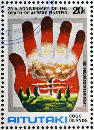 AITUTAKI (ARAURA), CIRCA 1980: stamp printed in Cook Islands in honor of Mathematician Physicist Nobel Prize Winner Albert Einstein, circa 1980 Stock Photo - 18487177