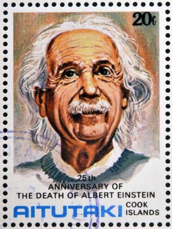 AITUTAKI (ARAURA), CIRCA 1980: stamp printed in Cook Islands in honor of Mathematician Physicist Nobel Prize Winner Albert Einstein, circa 1980 Stock Photo - 18478787