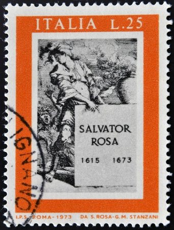 printmaker: ITALY - CIRCA 1973: a stamp printed in Italy shows Title Page for Book about Salvator Rosa, 75th International Fair, Verona, circa