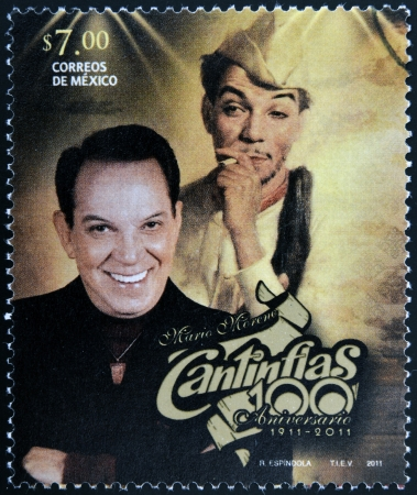 MEXICO - CIRCA 2011: A stamp printed in Mexico shows Mario Moreno Cantinflas, circa 2011 Editorial