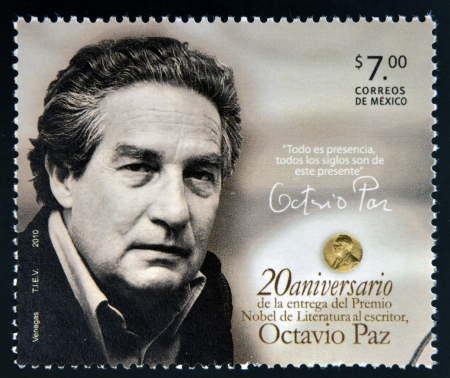 MEXICO - CIRCA 2010: A stamp printed in Mexico shows Octavio Paz, Nobel Prize for Literature, circa 2010  Editorial