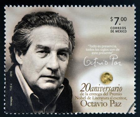 MEXICO - CIRCA 2010: A stamp printed in Mexico shows Octavio Paz, Nobel Prize for Literature, circa 2010  Editorial