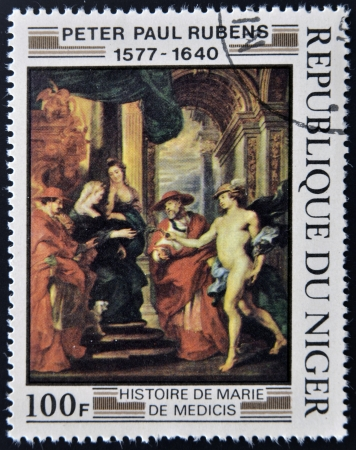 REPUBLIC NIGER - CIRCA 1978: A stamp printed in Niger shows draw by Peter Paul Rubens History of Marie de Medici, circa 1978