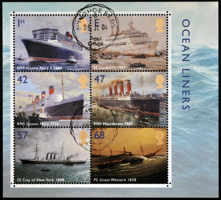 UNITED KINGDOM - CIRCA 2004: Collection stamps printed in Great Britain dedicated to ocean liners, circa 2004 photo