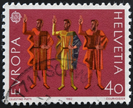 oath: SWITZERLAND - CIRCA 1982: a stamp printed in Switzerland shows Oath of Eternal Fealty, circa 1982