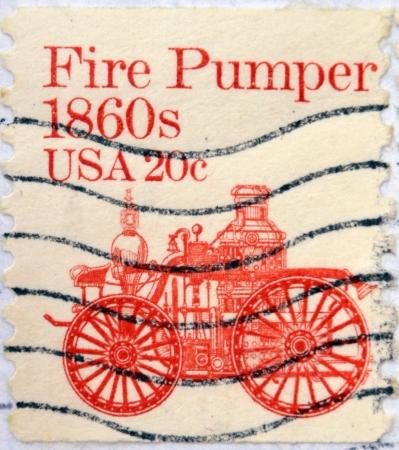 pumper: UNITED STATES OF AMERICA - CIRCA 1981: stamp printed in USA shows Fire pumper 1860s, circa 1981 Stock Photo