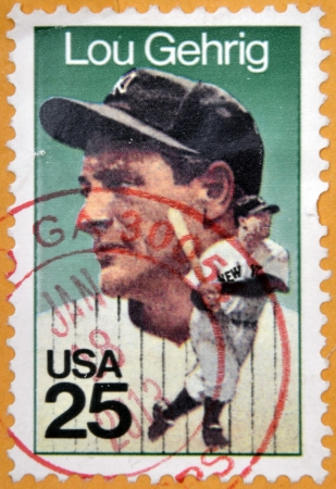 gehrig: UNITED STATES OF AMERICA - CIRCA 1989: A stamp printed in USA shows Henry Louis Lou Gehrig, Baseball Player for the New York Yankees, circa 1989