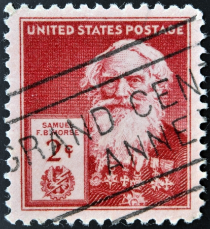 samuel: UNITED STATES OF AMERICA - CIRCA 1940: A stamp printed in USA shows Samuel Finley Breese Morse , circa 1940 Editorial