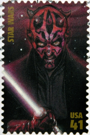 maul: UNITED STATES OF AMERICA - CIRCA 2007: stamp printed in USA shows Star Wars, Darth Maul, circa 2007 Editorial