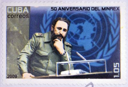 castro: CUBA - CIRCA 2009  a stamp printed in Cuba showing an image of Fidel Castro, circa 2009