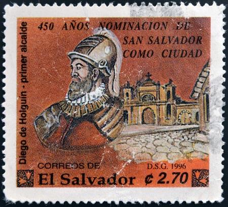 holguin: EL SALVADOR - CIRCA 1996  Stamp printed in El Salvador shows Diego de Holguin, first mayor of San Salvador, circa 1996 Stock Photo