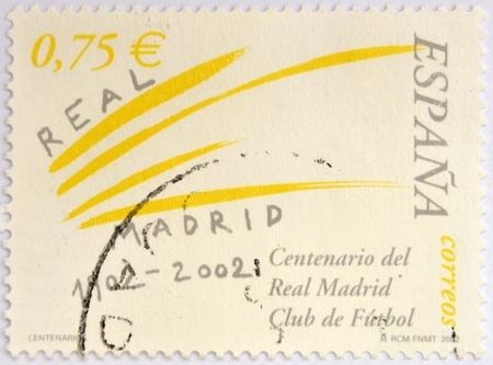 SPAIN - CIRCA 2002  Stamp printed in spain commemorating the centenary of the Real Madrid football club, circa 2002  photo