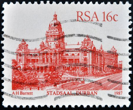 rsa: RSA - CIRCA 1987: A stamp printed in Republic of South Africa, shows Stadsaal Durban, circa 1987  Stock Photo