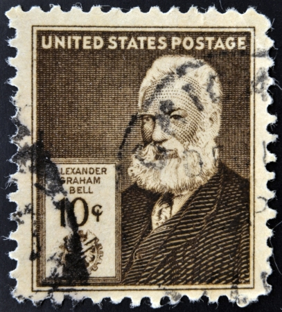 UNITED STATES OF AMERICA - CIRCA 1940: A stamp printed in USA shows Alexander Graham Bell, circa 1940