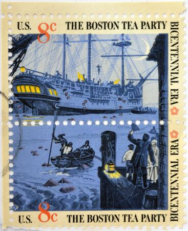 boston tea party: UNITED STATES OF AMERICA - CIRCA 1976: stamp printed in USA to commemorate the Boston Tea Party as part of the Bicentennial celebration in the United States, circa 1976  Stock Photo
