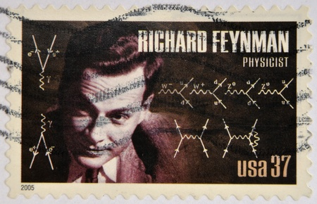 physicist: UNITED STATES OF AMERICA - CIRCA 2005  A stamp printed in USA shows Richard Feynman, physicist, circa 2005