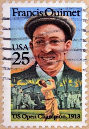 UNITED STATES OF AMERICA - CIRCA 1962  A stamp printed in USA shows a portrait Francis Ouimet, US Open Champion, 1913, circa 1962