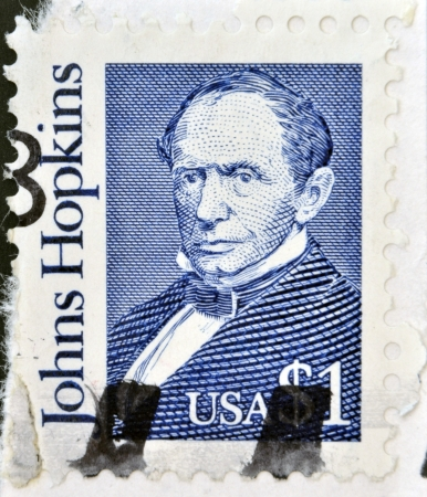 abolitionist: USA-CIRCA 1989 A stamp printed in USA shows Johns Hopkins was a wealthy American entrepreneur, philanthropist and abolitionist of 19th-century Baltimore, Maryland, circa 1989