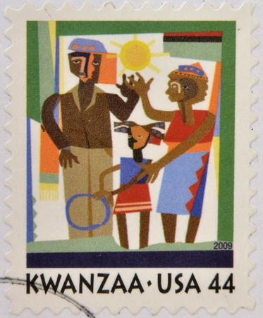kwanzaa: UNITED STATES - CIRCA 2009  A stamp printed in USA shows Kwanzaa celebration, circa 2009 Stock Photo