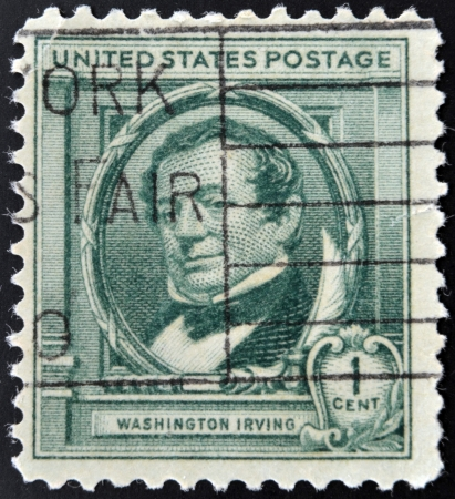 UNITED STATES OF AMERICA - CIRCA 1940: A stamp printed in USA shows Washington Irving, circa 1940 photo