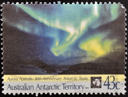 AUSTRALIAN ANTARCTIC TERRITORY - CIRCA 1991: Stamp printed in australia shows Aurora Australis, circa 1991