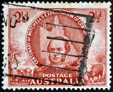 AUSTRALIA - CIRCA 1946: stamp printed in Australia shows Sir Thomas Mitchell, circa 1946