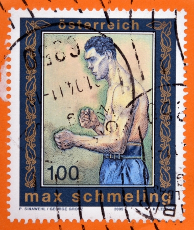 the heavyweight: AUSTRIA - CIRCA 2005: A stamp printed in Austria shows Max Schmeling, heavyweight champion of the world, circa 2005