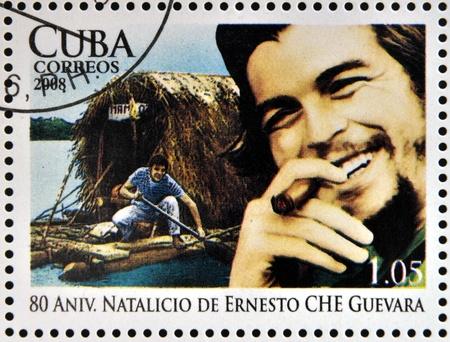 CUBA - CIRCA 2008: Stamp printed in Cuba dedicated to 80th anniversary of the birth of Ernesto Che Guevara, circa 2008