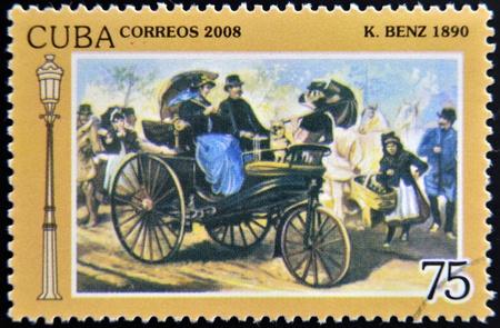 CUBA - CIRCA 2008: A stamp printed in Cuba shows Benz 1890, vintage cars, circa 2008