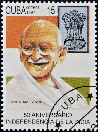 eminent: CUBA - CIRCA 1997 : A stamp printed in Cuba shows Mahatma Gandhi on the 50th anniversary of Independence of India, circa 1997
