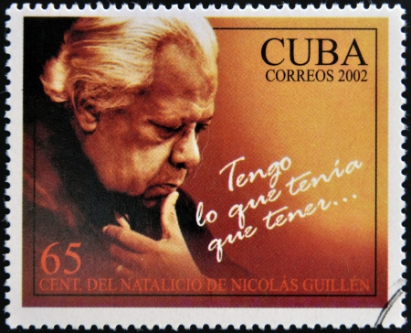 national poet: CUBA - CIRCA 2002: A stamp printed in Cuba shows Nicolas Guillen, I have what I had to have, circa 2002 Editorial