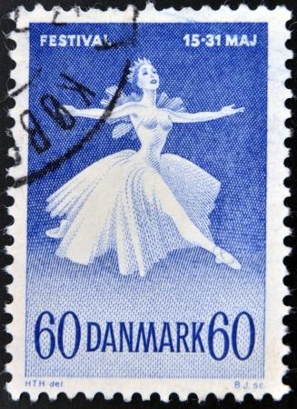 DENMARK - CIRCA 1965: A stamp printed in Denmark shows Ballet Dancer, Danish Ballet and Music Festival, circa 1965