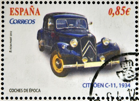 SPAIN - CIRCA 2012: Stamps printed in Spain dedicated to classic car, shows citroen c-11, 1934, circa 2012