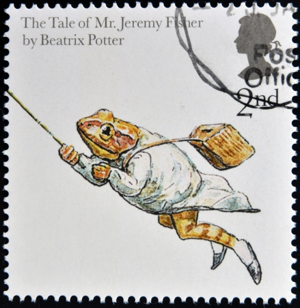 beatrix: UNITED KINGDOM - CIRCA 2006: A stamp printed in Great Britain dedicated to animal tales, shows The Tale of Jeremy Fisher from Beatrix Potters books, circa 2006 Editorial