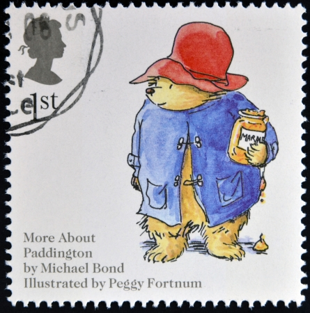 UNITED KINGDOM - CIRCA 2006: A stamp printed in Great Britain dedicated to animal tales, shows Michael Bonds Paddington Bear, circa 2006
