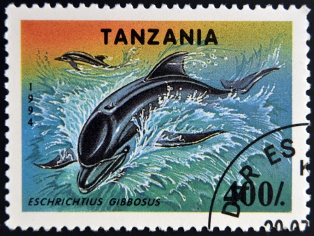 TANZANIA - CIRCA 1994: A stamp printed in Tanzania showing California Gray Whale, circa 1994