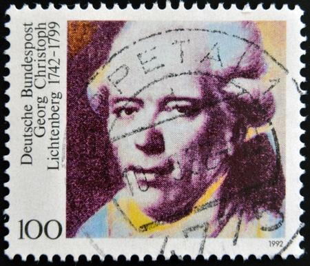 satirist: GERMANY - CIRCA 1992: A stamp printed in Germany shows Georg Christoph Lichtenberg, circa 1992