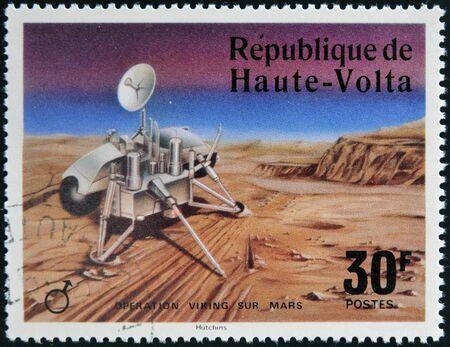 UPPER VOLTA - CIRCA 1976: A stamp printed in Upper Volta dedicated to Operation Viking Sur Mars, circa 1975.