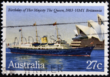 AUSTRALIA - CIRCA 1983: A Stamp printed in Australia shows the HMY Britannia, devoted to Queen Elizabeth II, 57th Birthday, circa 1983  Stock Photo - 19295137