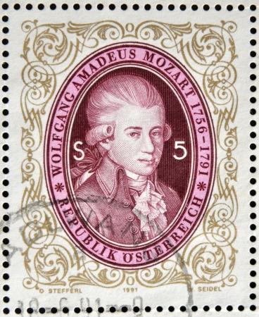 amadeus mozart: AUSTRIA - CIRCA 1991: sello impreso en los shows de Austria Wolfgang Amadeus Mozart, alrededor de 1991