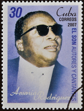 CUBA - CIRCA 2007: A stamp printed in cuba dedicated to authors and singers of Cuban son, shows Arsenio Rodriguez, circa 2007