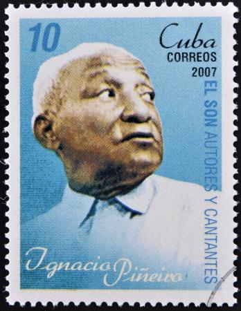 ignacio: CUBA - CIRCA 2007  A stamp printed in cuba dedicated to authors and singers of Cuban son, shows Ignacio Piñeiro, circa 2007 Editorial