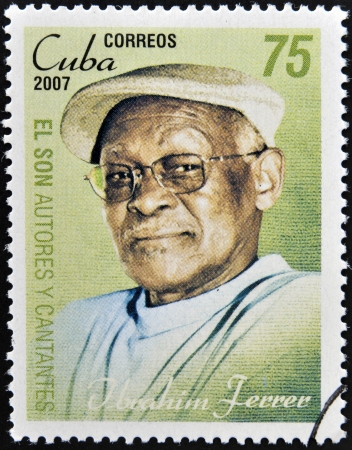 CUBA - CIRCA 2007  A stamp printed in cuba dedicated to authors and singers of Cuban son, shows Ibrahim Ferrer, circa 2007