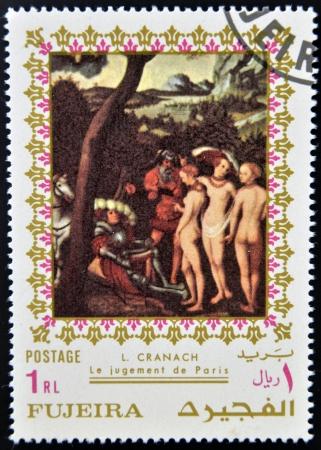 fujeira: FUJEIRA - CIRCA 1985  Stamp printed in Fujeira shows The Judgment of Paris by Lucas Cranach, circa 1985  Editorial