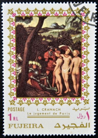 FUJEIRA - CIRCA 1985  Stamp printed in Fujeira shows The Judgment of Paris by Lucas Cranach, circa 1985  Editorial