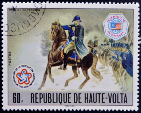 BURKINA FASO - CIRCA 1976: stamp printed in Burkina Faso, shows Washington at Battle of Trenton, circa 1976  photo